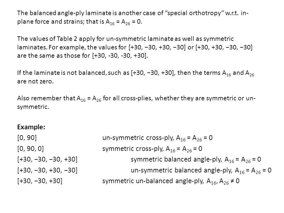 [0, 90] un-symmetric cross-ply, A16 = A26 = 0